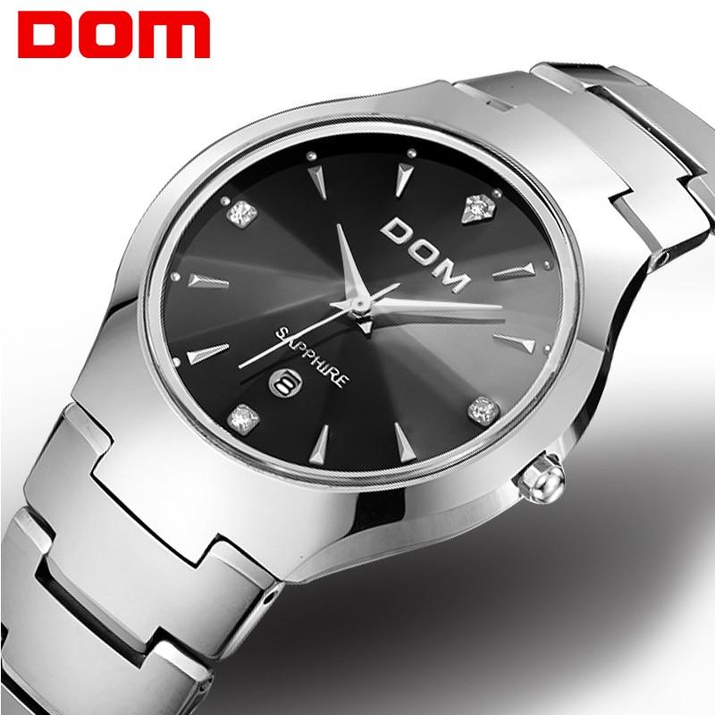 Men watch Top DOM Brand hot sport Luxury tungsten steel Strap Wrist 30m waterproof Business Quartz watches Fashion Casual W-698