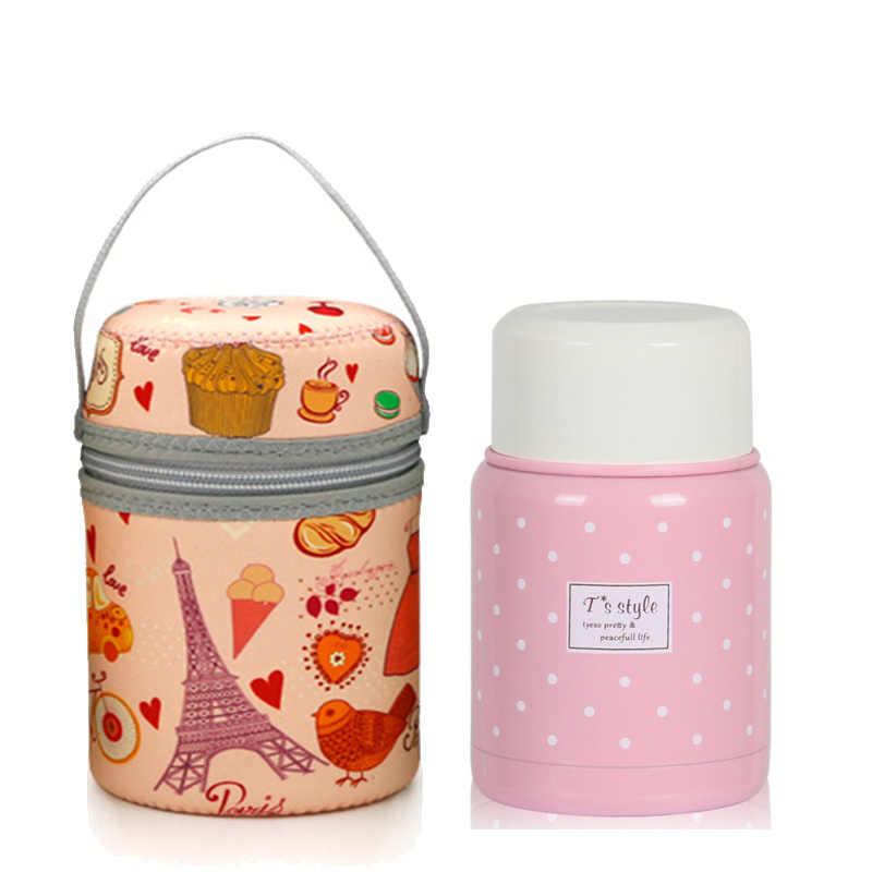 New pink thermos food container inox folding spoon cute flask easy bring bag kids lunch box stainless steel bento thermo