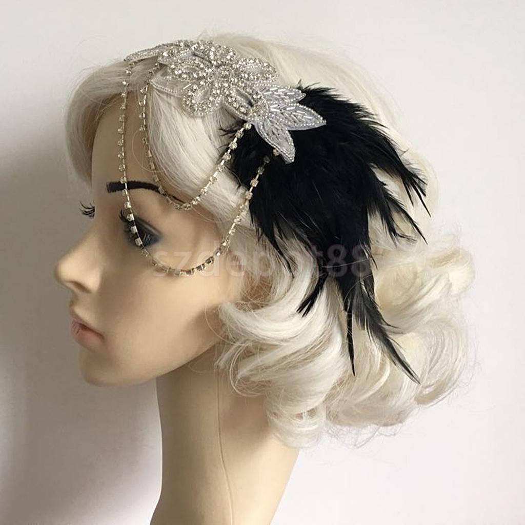 Vintage Womens Feather 1920s Headpiece Flapper Chain Flower Hairband Great Gatsby Headba ...