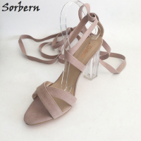 Sorbern Pink Gladiator Sandal Women Clear Heels Summer Shoes Handmade Sandale Femme Ete 2017 Super High