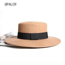 b04b5ed7915a3 QPALCR Retro Green Hats For Men Women Flat Top Black Jazz Hat Wool Fedora  Hats