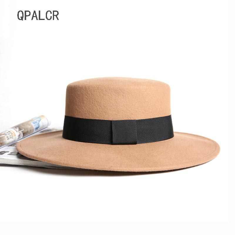 53ed07b0b40 QPALCR Retro Green Hats For Men Women Flat Top Black Jazz Hat Wide Brim  Felt Bowler