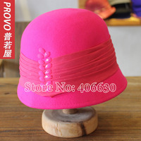 Mùa đông len cảm thấy Xô Hat cho phụ nữ chapeu feminino gái Fedoras Bright Pink màu sắc nữ miễn phí vận chuyển PWFR-021