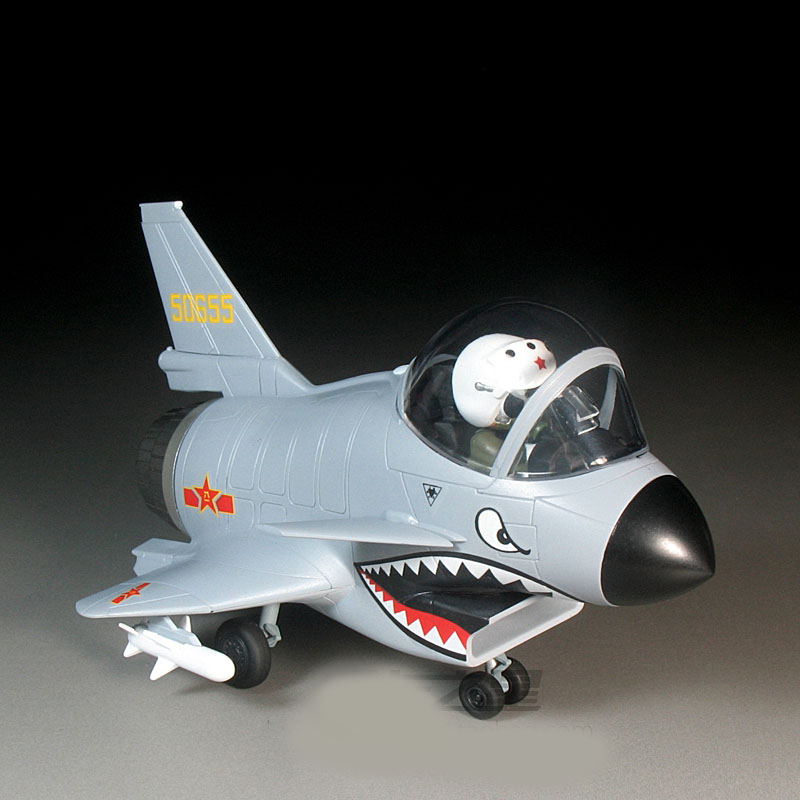 Q Edition China J-10 Fighter PLA AIR FORCE Free Glue Plastic Assemble Military Model Toy For Childeren