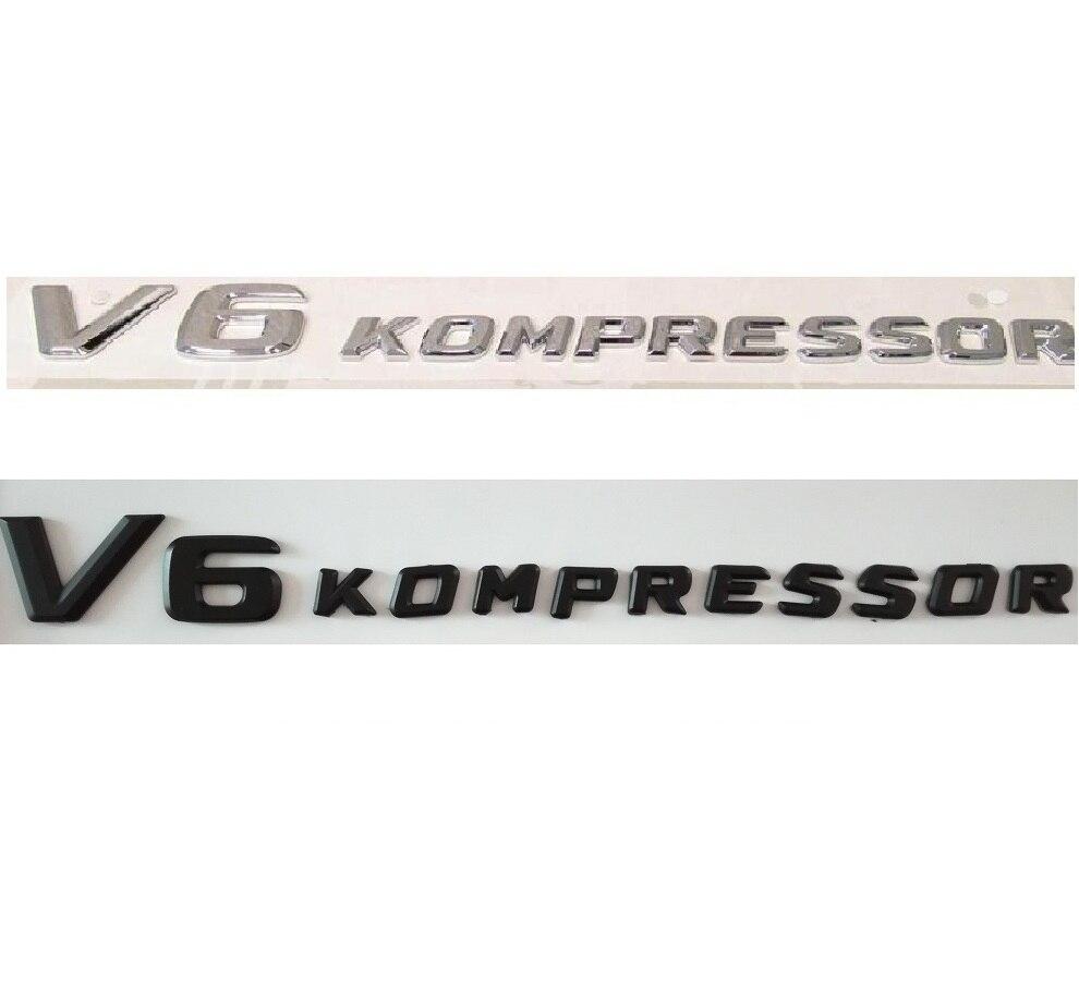 Chrome Black V6 KOMPRESSOR Plastic Car Trunk Rear Sides Letters Badge Emblem Emblems Bad ...