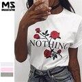Mooishe ins Nada Las Mujeres T Camisa Impresión de la Rosa de Manga Corta Blanca Rosa Gris BF Camiseta de Las Mujeres Tops