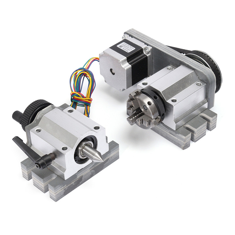 CNC Router Rotational Rotary A xis A-axis 4th-axis 3-Jaw 80mm & Tail stock Stepper Motor for Engraving Machine Accessory cnc 5 axis a aixs rotary axis three jaw chuck type for cnc router