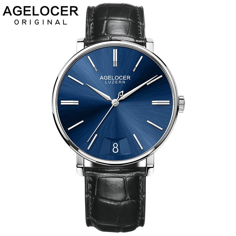 AGELOCER Swiss hommes montres saphir Top marque de luxe Ultra-mince montre-bracelet hommes montre pour hommes 316L en acier horloge reloj hombre