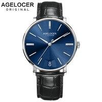 AGELOCER Швейцарский для мужчин s часы сапфир лучший бренд класса люкс ультра тонкие ручные часы для мужчин часы 316L сталь часы reloj hombre