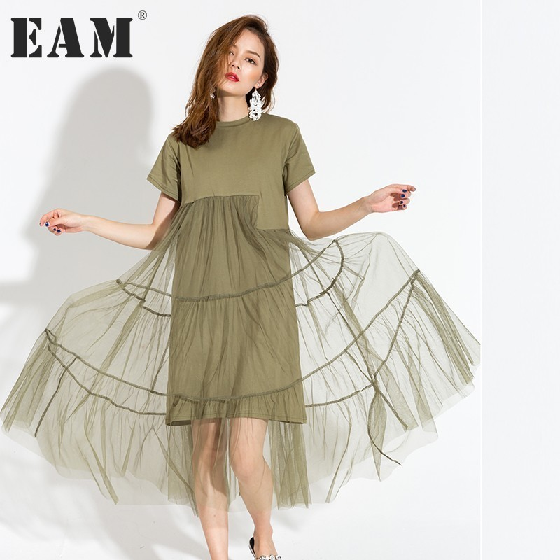 EAM 2017 new autumn winter round neck short sleeve solid color green gauze split joint