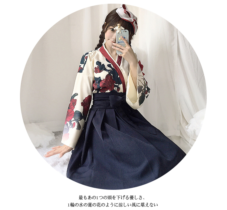 Girls Japanese Style Retro Kimono Floral Long Sleeve Woman Party Dress Summer Fashion Outfits Top Bow Skirt Haori for Female 6