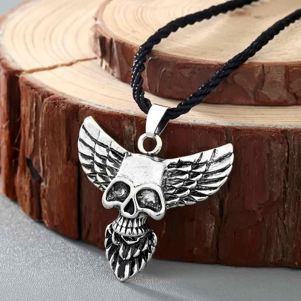 Chereda Männer der Mode Punk Schädel Kopf Seil Kette Halsketten für Männer Adler Flügel Anhänger Gothic Ethnische Schmuck