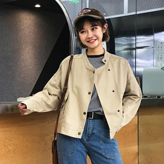 dff8721a4f 2018 New Sale Spring Autumn Women Jacket Soft Short Coats Korean Fashion  Harajuku Designer Solid Loose Stand Collar Cute Outwear
