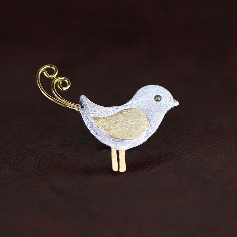 Lotus Fun Real 925 Sterling Silver Designer Handmade Fine Jewelry Adorable Little Jay Bird Brooches Pin Badge Broche For Women-1