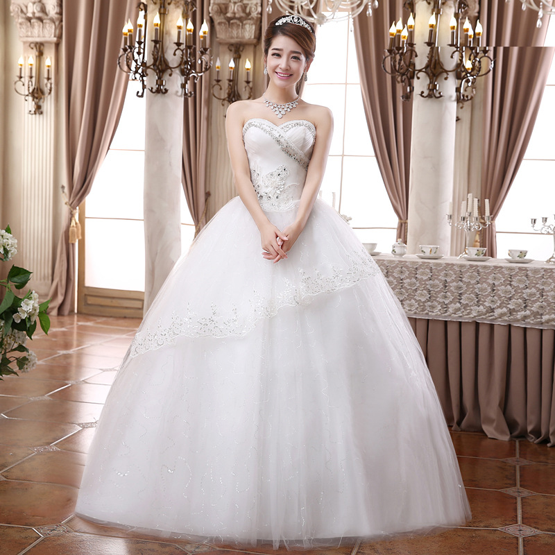 Us 96 0 Aliexpress Best Selling Europe New Style Wedding Dress Tube Top Bride Fashion Simple Flower Ball Gown Princess Wedding Dresses In Wedding