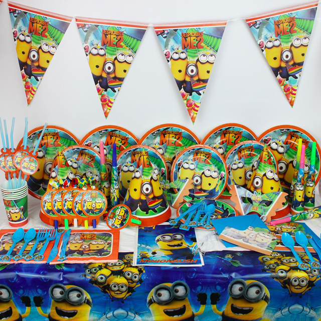 Minions Birthday Party Decoration Despicable Me Minion Kids Child Theme Supplies Disposable Tableware