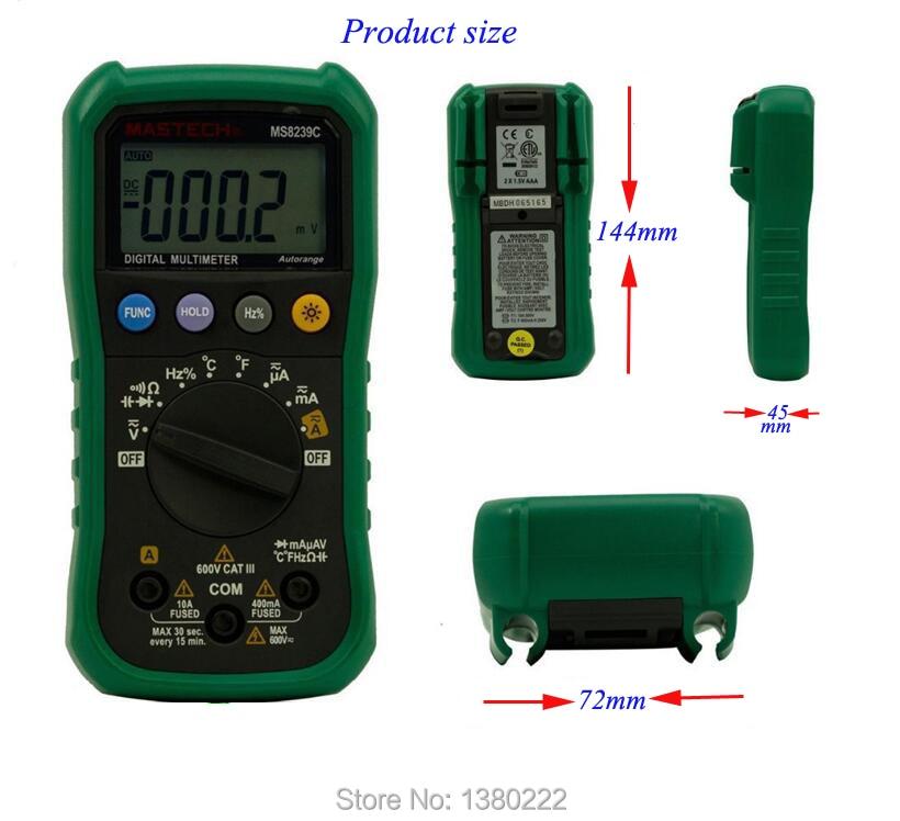Auto range Handheld 3 3/4 Digital Multimeter Mastech MS8239C AC DC Voltage Current Capacitance Frequency Temperature Tester  цены