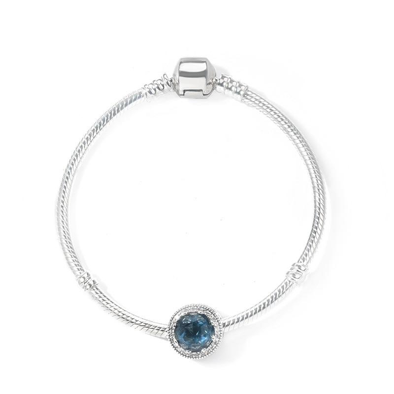 Correspond à bijoux charme bricolage cadeau 925 en argent Sterling classique Magnolia amour en forme de coeur cubique basique serpent os Bracelet