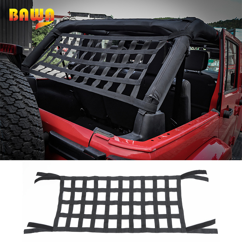 BAWA Car Covers For Jeep Wrangler 1987-2017 YJ/TJ/JK/JL Automatic Car Covers Hammock Cargo Net Top Roof Storage Car Cover