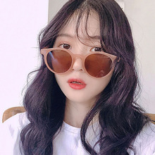 New retro small circular frame sunglasses Fashion milk-brown small frame glasses ins female net red shake tone Sunglasses