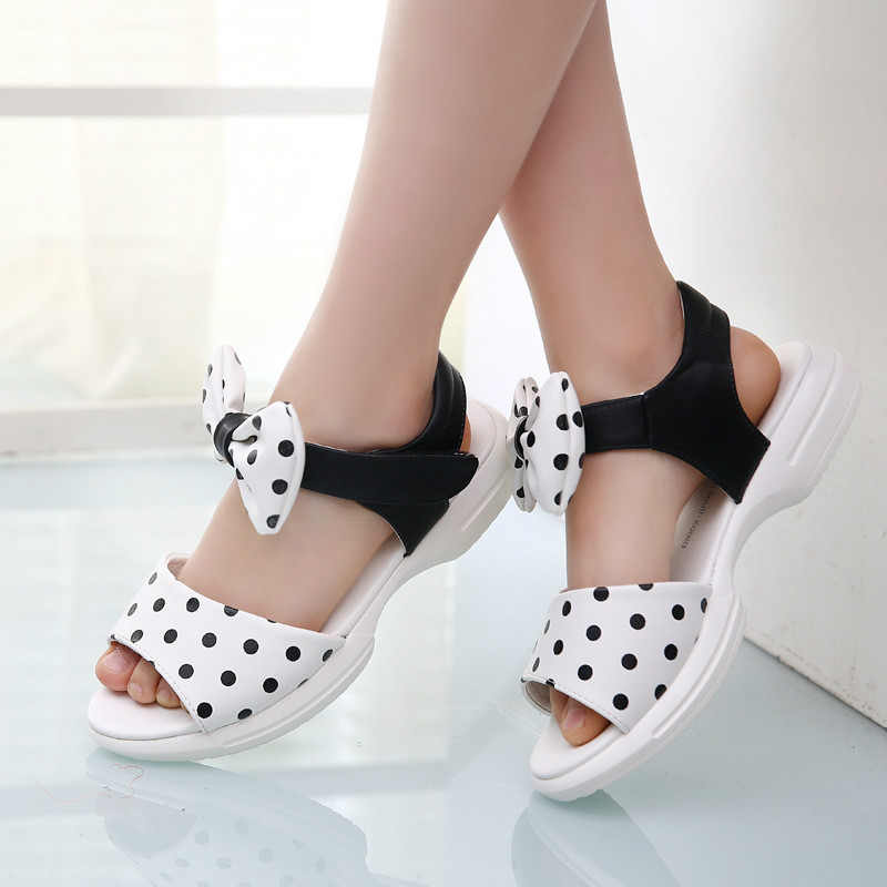 Princess Shoes For Girls 2016 Summer Sandals Korean Style Girls Child Soft Fashion Bow Point