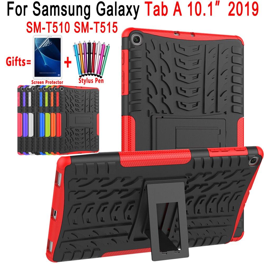 À prova de choque de Silicone Macio Capa para Samsung Galaxy Tab 10.1 2019 Caso T510 T515 SM-T510 SM-T515 Coque Funda + Tela protetor