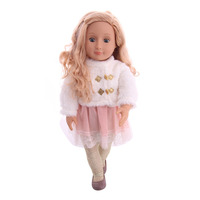 New Doll Pink Skirt + White Coat Ladies Suit for 18 inch American Give Children the Best Gift (with doll)