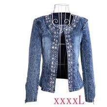Vintage Women Jean Jacket Witrh Pearls Beading 2019 Spring Long Sleeve Pockets Denim Jackets Loose Outwear Female