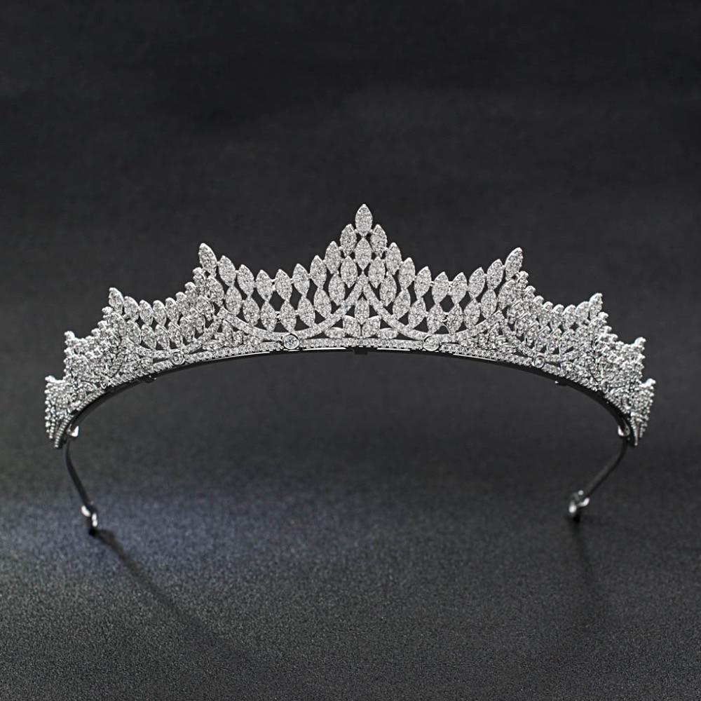 Classic CZ Cubic Zirconia Wedding Bridal Silver Royal Tiara Diadem Crown Women Girl Prom Party Hair