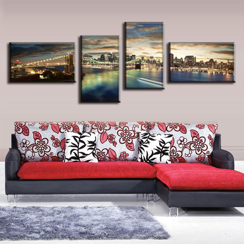 2016 modern 4 pcsset landscape canvas painting panorama of brooklyn bridge sunset decorative picture