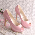 Wedopus Custom Handmade Open Toe Platform Heel Wedding Bride Shoes Pink Satin Size 9
