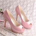 Wedopus Personalizado Handmade de Salto Plataforma Do Dedo Do Pé Aberto Casamento Sapatos de Noiva de Cetim Rosa Tamanho 9