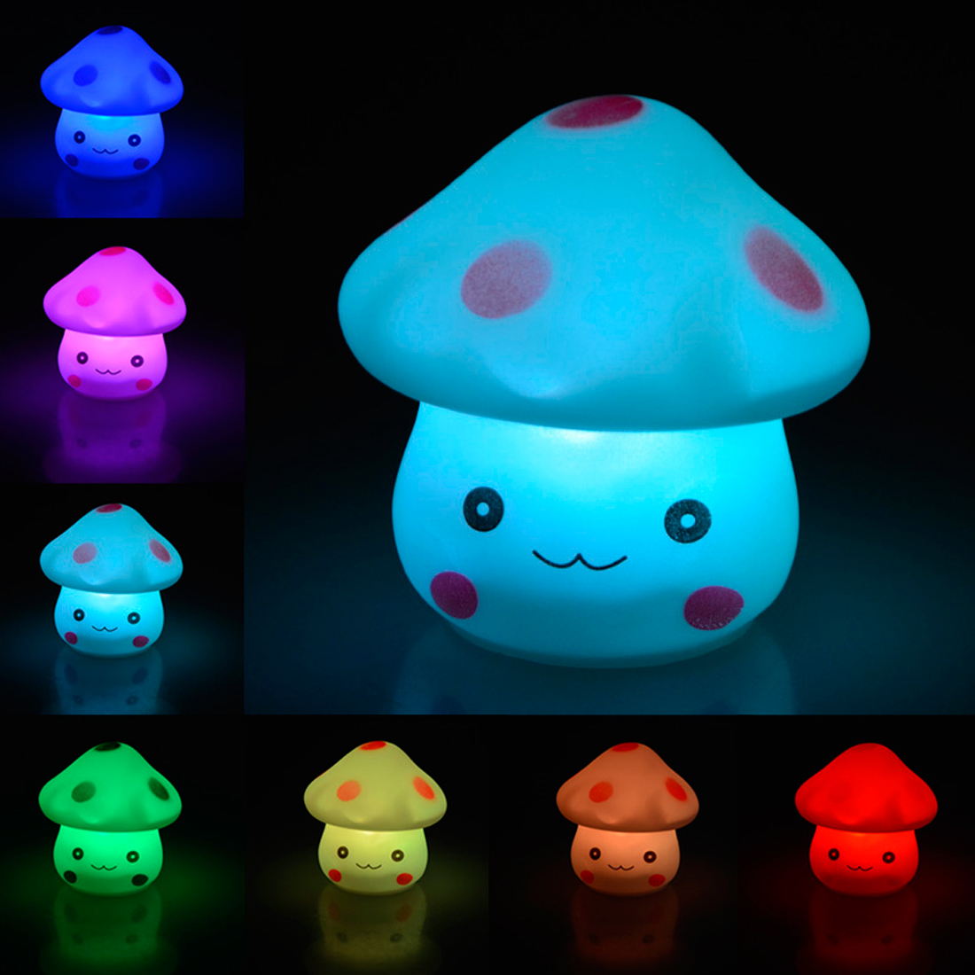 LED Night Light Colorful Mushroom Press Down Touch Room Desk Bedside Lamp for Baby Kids Christmas Gifts Interior Design