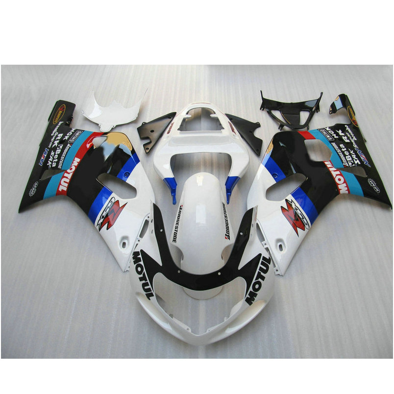 Professional Injection fairing parts for SUZUKI K1 2001 2002 2003 GSXR600 GSX R750 01 02 03 white Motul motorcycle fairings kit
