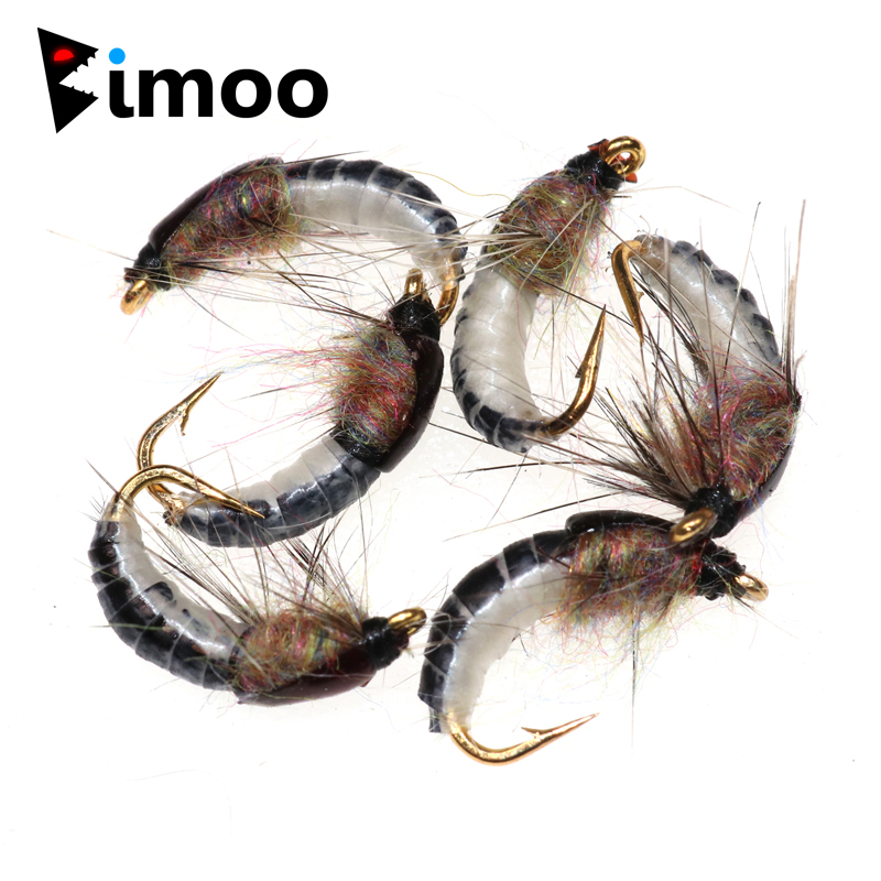 Bimoo 6PCS #12 Realistic Nymph Scud Fly For Trout Fishing Nymphing Artificial Insect Bait Lure