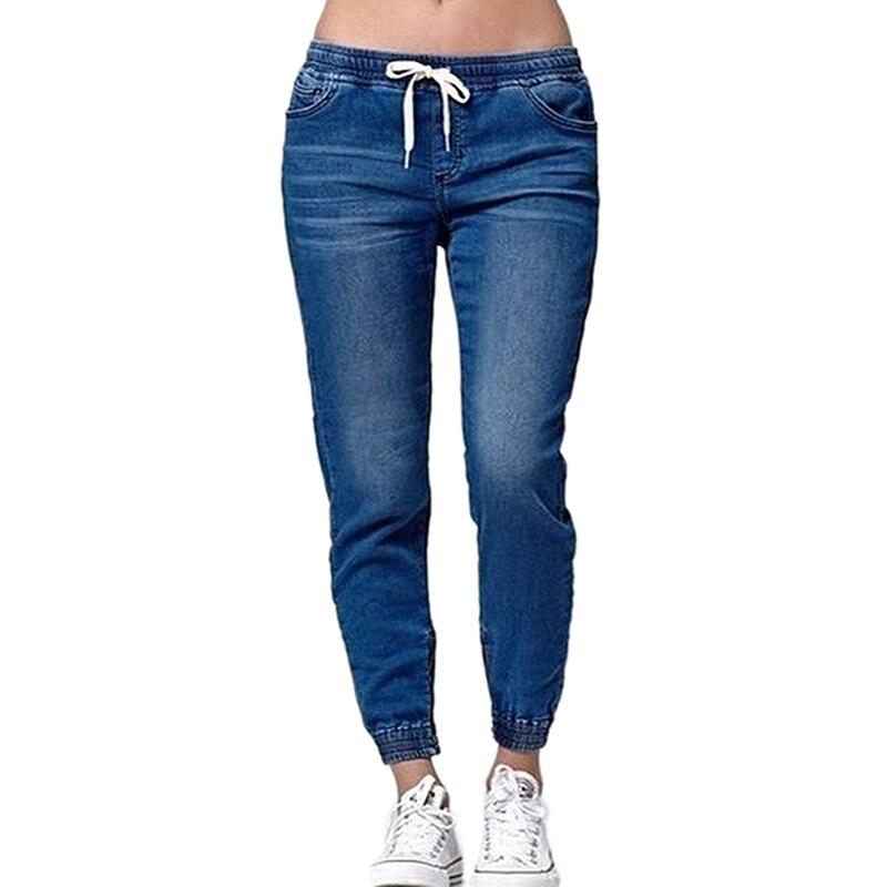 Women Casual Jogger Pants Drawstring Elastic Waisted   Jeans   Solid Ladies Denim Pants Slim Leggings Pants Vaqueros Mujer