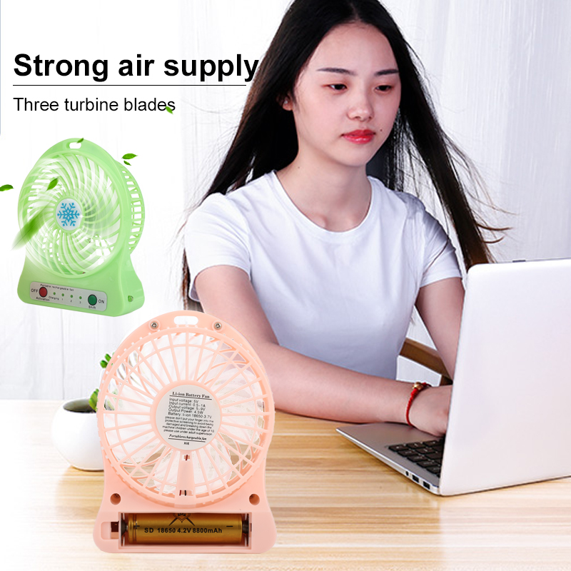 2019 Drop Shpping Mute ABS+TPE Hpersonal Fan Portable Cute With Light Air Conditioning Travel Gift For Outdoor