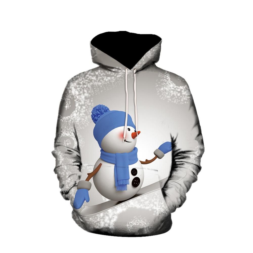 Mens 3D Snowman Printed Christmas Pullover Casual Autumn Winter Unisex  Hoodies Long Sleeve Pocket Fit  Sweatshirt Tops Oversize