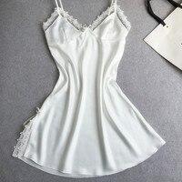 New Women Satin Lace Spaghetti Strap Robe Gown Night Dress Sexy Charming Temptation Lingerie Nightgowns Sleepshirts