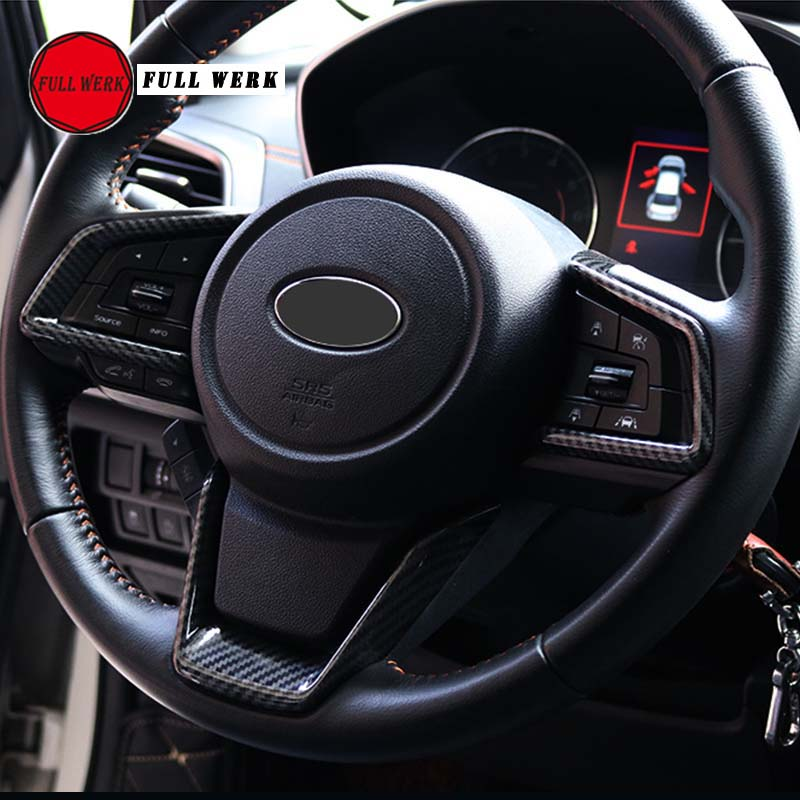 ABS Car Styling Steering Wheel Decoration Trim Sticker Frame for Subaru XV 2018 Outback 2018 Interior Mouldings Set of 3pcs 2pcs set car interior steering wheel button frame cover trim for subaru xv 2012 2013 2014 2015 chromed abs plastic car styling
