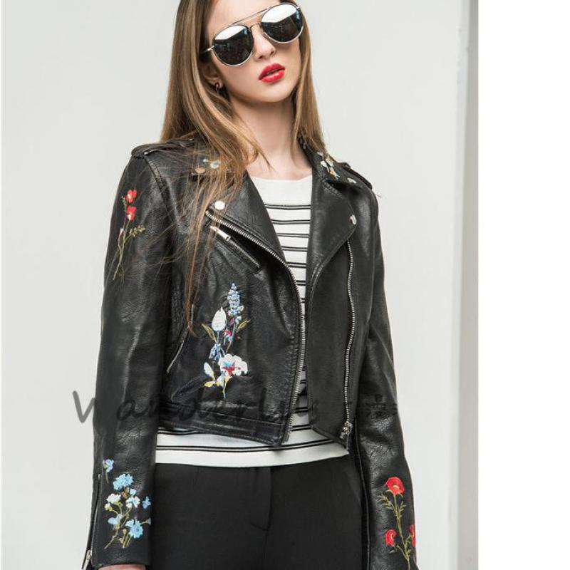 Women Floral Print Embroidery Faux Soft   Leather   Jacket Coat Turn-down Collar Casual Pu Motorcycle Black Punk Outerwear 2019