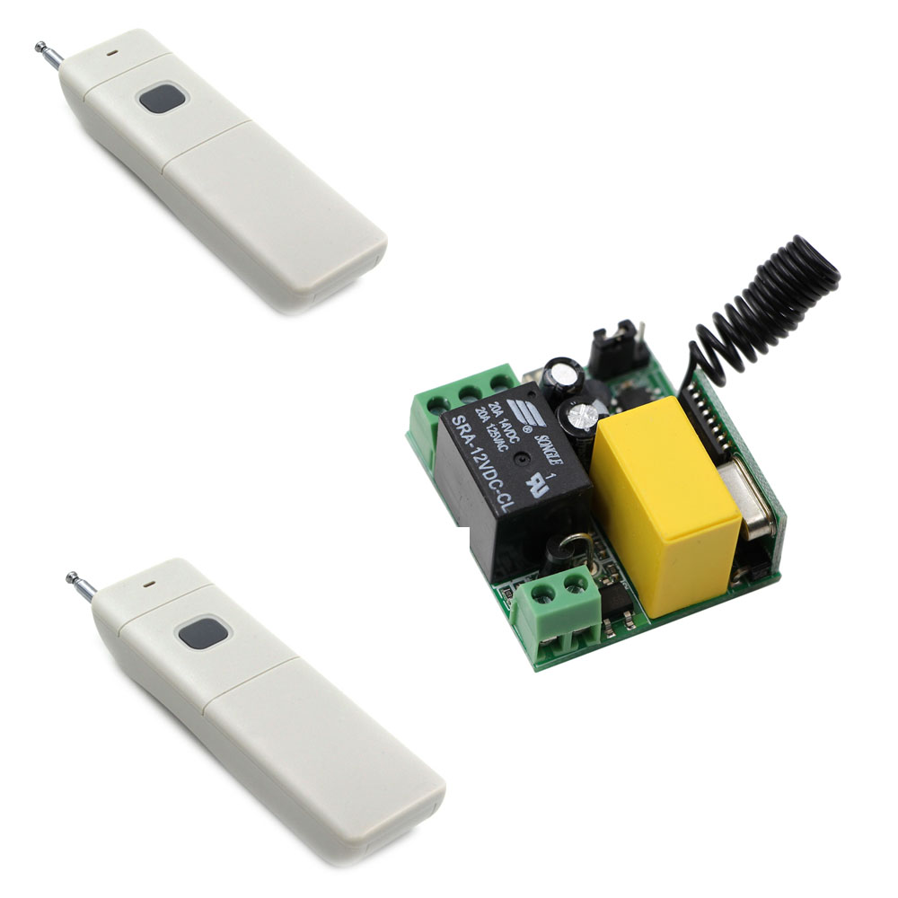 AC220V RF Wireless Remote Control Switch System Receiver & 2*Transmitters With Button for  Light Water Pump Electrical Machine ac 85v 250v 1ch rf wireless remote control switch system 1 transmitters