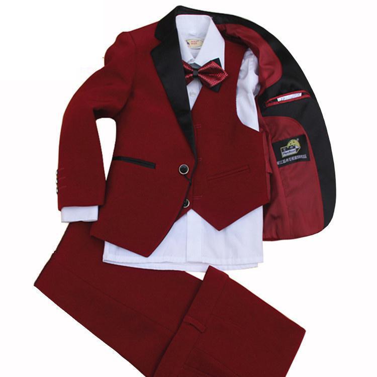 Costume garçon enfant costume rouge au printemps et en automne ensemble mariage comprenant 4 pièces veste + gilet + pantalon + noeud papillon taille 2-12 ans