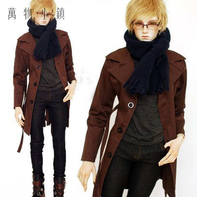 Accept custom New Single breasted Windbreaker Coat+Jeans+Vest+ Scarf Coll Suit For uncle 1/3 1/4 BJD SD MSD Doll Clothes new handsome fashion stripe black gray coat pants uncle 1 3 1 4 boy sd10 girl bjd doll sd msd clothes