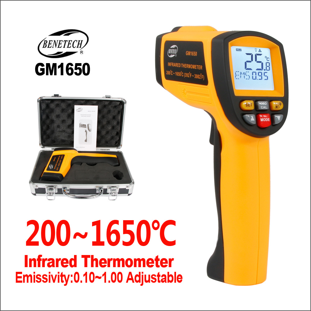 BENETECH Thermometer Infrared Digital Temperature Sensor Controller Laser Outdoor Thermometer GM1650 Electronic IR thermometerBENETECH Thermometer Infrared Digital Temperature Sensor Controller Laser Outdoor Thermometer GM1650 Electronic IR thermometer