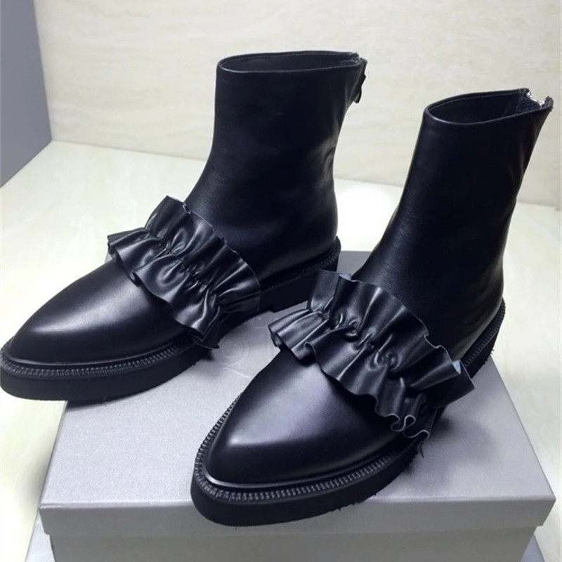 New 2017 Fashion Famous designer Ankle Booties European Genuine Leather Female Shoes Spring Autumn Pleated brand Boots For Women famous brand new black women s size xs pleated surplice sheath dress $90