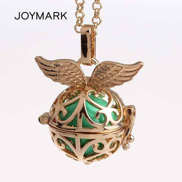 US $35 68 15% OFF|12pcs/lot Classic Flower Pattern Double Angel Wings  Copper Chime Magic Box Cage Musical Sound Ball Pregnant Necklaces HCPN24-in