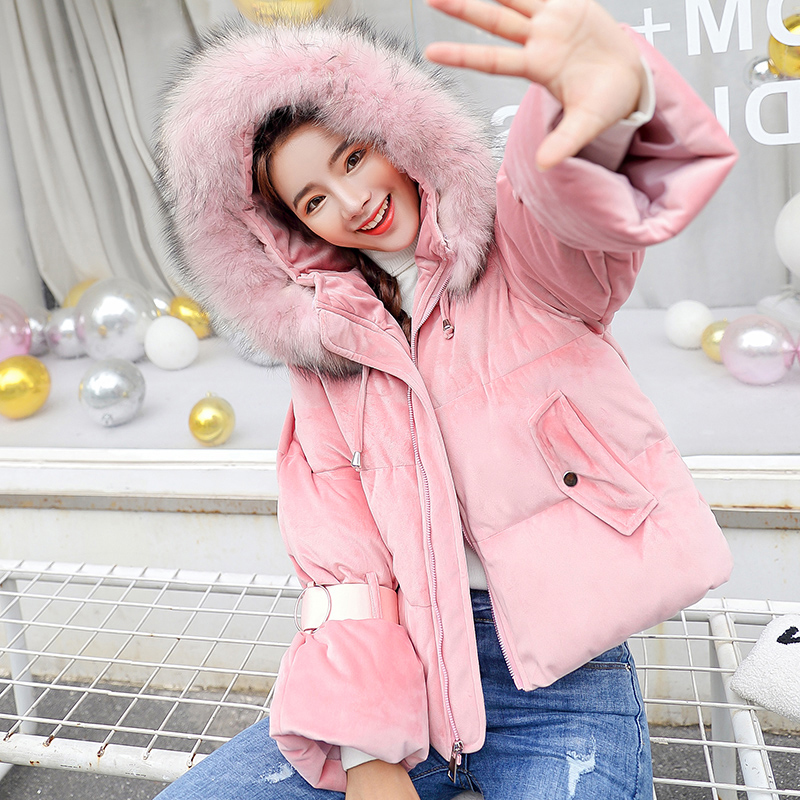 FTLZZ New Women Winter Hooded Cotton   Parkas   Snow Sweet Short Thickening Warm Coat Lady Clothing Female Jackets   Parkas