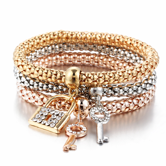 3 Pieces Set Bracelets with Beautiful Charms