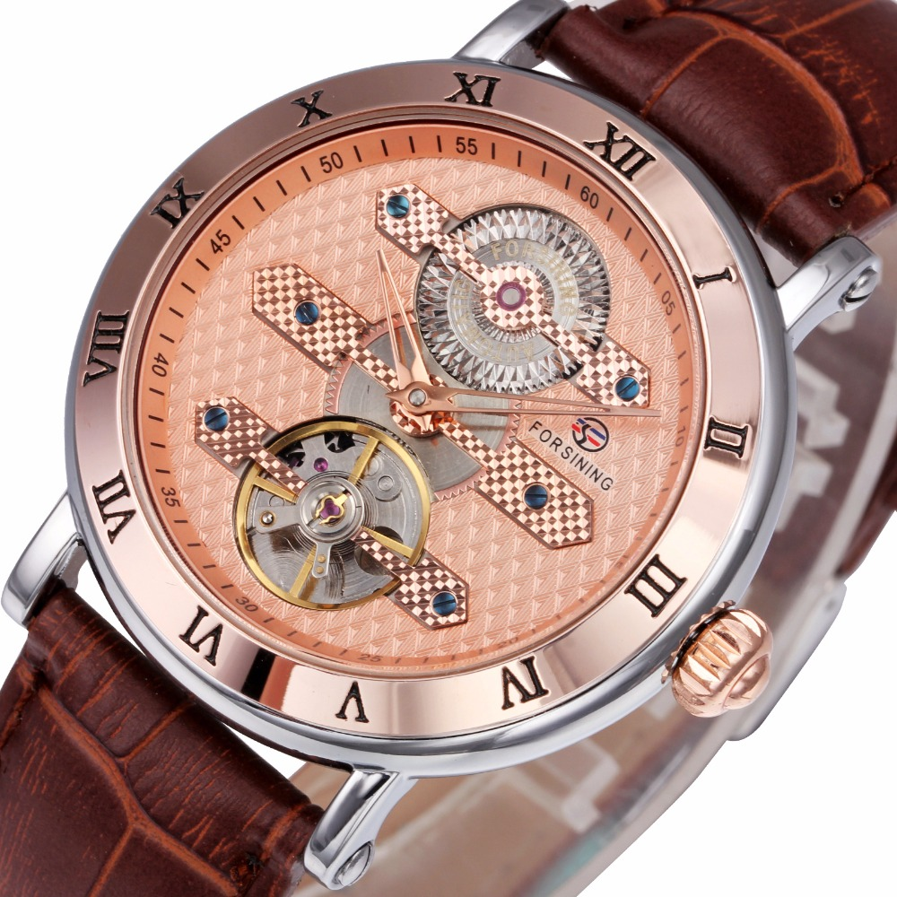 WINNER Luxury Men Watches Tourbillon Automatic Mechanical Wrist Watches Leather Strap Multi-function Movement Roman Number